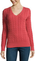 ST. JOHN'S BAY St. John's Bay Long Sleeve V Neck Pullover Sweater