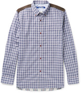 Junya Watanabe Patchwork Checked Cotton-poplin And Flannel Shirt - Navy