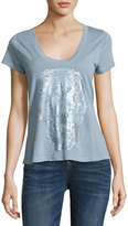 Zadig & Voltaire Metallic Butterfly Skull Slub Tee, Light Blue