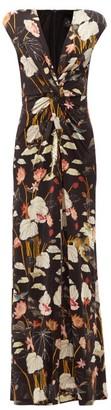 Etro Pothia Twist-front Leaf-print Jersey Dress - Black Multi
