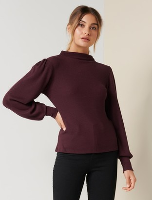 Forever New Nova Grown-On Neck Top - Plum Muse - xs