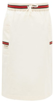 Gucci Web-striped Side-pocket Cotton Skirt - Ivory Multi