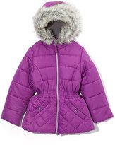 Hawke & Co Magenta Quilted-Accent Puffer Coat - Toddler & Girls