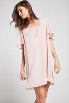 BCBGeneration Lace Inset A-Line Dress - Gray