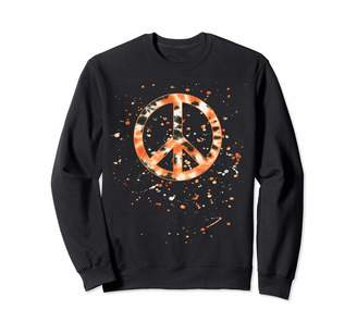 Tie Dye Halloween Co Orange Tie Dye Peace Sign -Paint Splatter -Hippie Halloween Sweatshirt