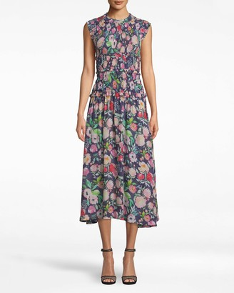 Nicole Miller Watercolor Floral Smocked Midi Dress