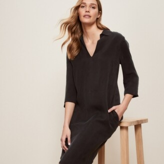 The White Company Soft Tencel Shirt Dress, Black, 6