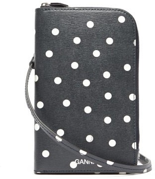 Ganni Polka-dot Leather Phone Pouch - Navy White