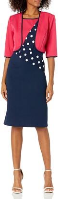 Maya Brooke Women's Polka dot Diagonal Jacket Dress