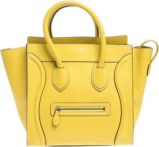 Celine Yellow Leather Mini Luggage Tote