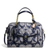 Coach Poppy East/West Pocket Satchel In Quilted Signature Denim