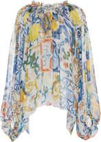 Dolce & Gabbana Maiolica Printed Long Sleeve Blouse
