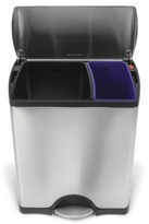 Simplehuman 46-Liter Brushed Stainless Steel Dual Recycler Step Trash Can