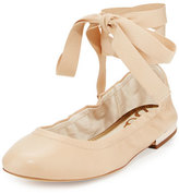 Sam Edelman Fallon Lace-Up Ballerina Flat, Beige
