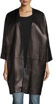 Vince Oversized Dolman-Sleeve Lambskin Shell Jacket, Black