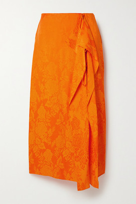 ATTICO Draped Satin-jacquard Midi Skirt - Orange