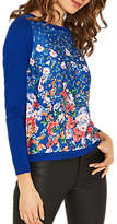 Oasis Meadow Printed Tie Back Jumper, Cobalt Blue