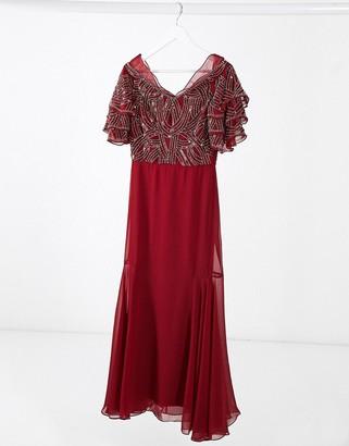 Virgos Lounge embellished maxi dress in red