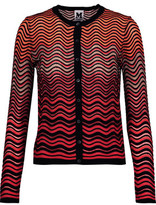 M Missoni Metalli Tulle-Trimmed Textured Stretch-Knit Cardigan