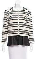 Thakoon Leather-Trimmed Striped Jacket