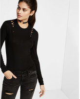 Express one eleven lattice shoulder long sleeve tee