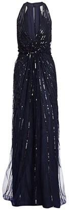 Monique Lhuillier Sequined & Embroidered Halter Gown