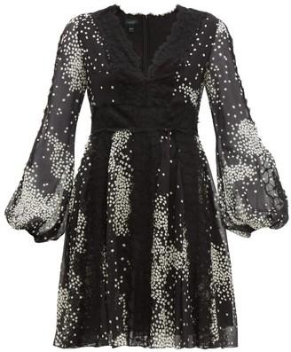 Giambattista Valli Square-print Lace-trim Silk-georgette Dress - Black White