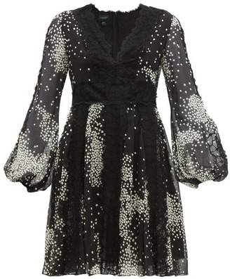 Giambattista Valli Square-print Lace-trim Silk-georgette Dress - Womens - Black White