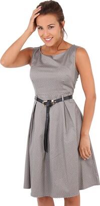 Krisp 7045-MOC-16: Vintage 50s Pin Up Polka Dot Flared Midi Dress Swing Skater Skirt Summer