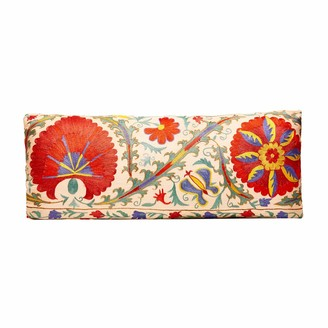 Heritage Geneve Hand Embroidered Long Suzani Cushion With Ikat Reverse