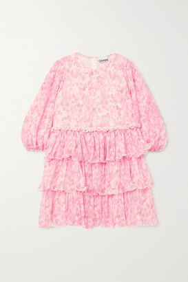 Ganni Tiered Ruffled Floral-print Plisse-georgette Mini Dress - Pink