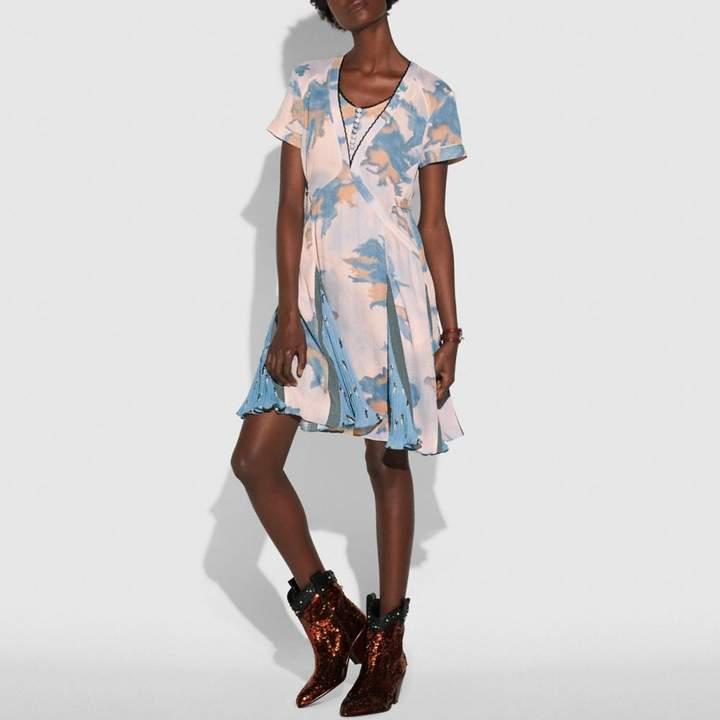Coach Dreamy Floral Print Pleated Dress