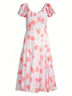 La Vie Rebecca Taylor Louise Floral Midi A-Line Dress