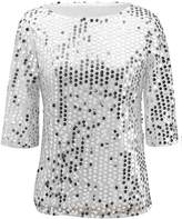 Soficy Women Shiny Sequin Half Sleeve Bling Loose Blouse T-Shirt Tops Tee 8