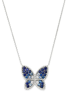 Bloomingdale's Blue Sapphire & Diamond Butterfly Necklace in 14K White Gold, 16 - 100% Exclusive
