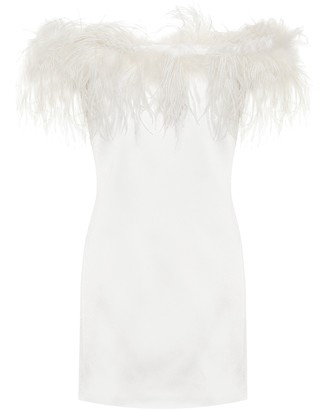 Saint Laurent Feather-trimmed crepe dress