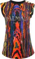 Balmain logo print T-shirt - women - Cotton - 34
