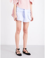 Vivetta Self-tie Striped Cotton Shorts