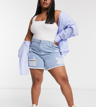 Yours ripped denim shorts in light blue wash