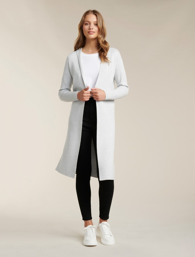 Forever New Karley Clean Hooded Cardigan - Iced Grey - s