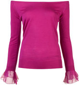 Oscar de la Renta off shoulder jumper - women - Silk/Virgin Wool - M