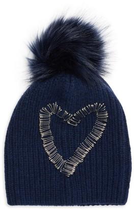 Jocelyn Heart Safety Faux Fur Beanie