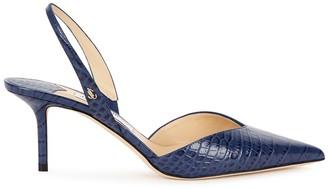 Jimmy Choo Thandi 65 blue crocodile-effect leather pumps