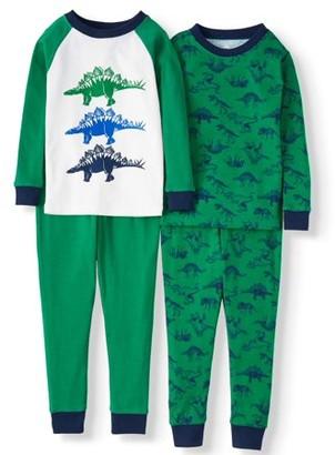 Wonder Nation Baby & Toddler Boys Long Sleeve Snug Fit Cotton Pajamas, 4pc Set
