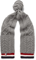 Thom Browne - Striped Cable-knit Wool Scarf