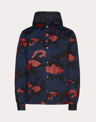 Valentino Hooded Camouflage Jacket Man Navy/ Red Cotton 100% 54