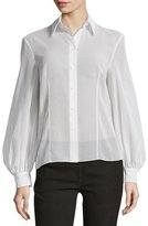 Michael Kors Bishop-Sleeve Button-Front Blouse, Optic White