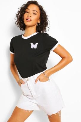 boohoo Butterfly Pocket Print Ringer T-Shirt