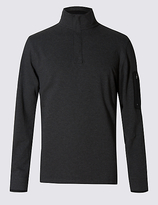 Blue Harbour Cotton Rich Tailored Fit Stretch Rugby Top