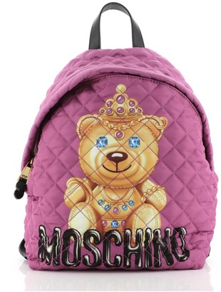 Moschino Teddy Bear Backpack Quilted Printed Nylon Medium